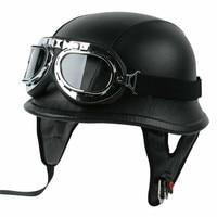 Motorcycle Helmet German Leather Style Half Face Helmet Cruise Chopper Biker Pilot Goggles M L XL motocross casco capacete DOT 3