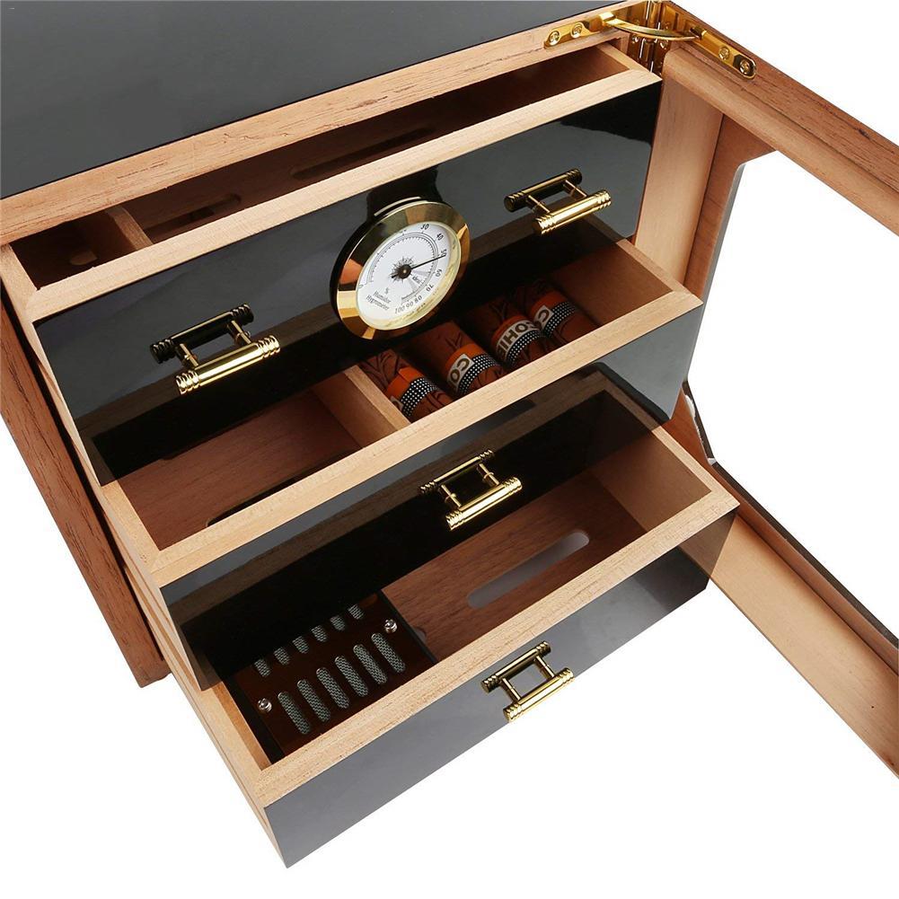 Luxe Zwart Cederhout Sigaar Humidor Kast Opbergdoos Hygrometer Luchtbevochtiger 3 Laag Laden Fatsoenlijke Sigaar Box Set - 5