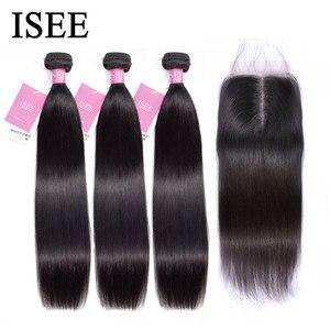 Straight Hair Bundles With Closure Malaysian Human Hair Bundles With Frontal Remy ISEE HAIR Bundles Straight Hair With Closure(China)