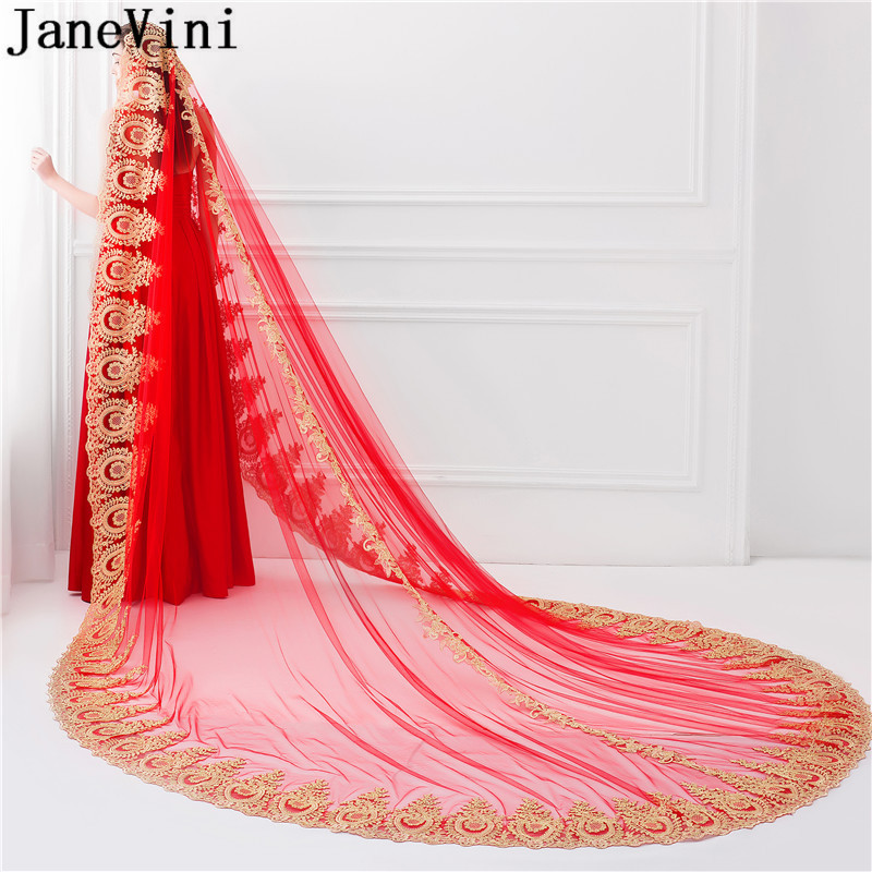 JaneVini Red Graceful Bridal Veils 3.5 Meters Long Arabic One Layer Gold Lace Applique Bridal Veil No Comb Wedding Accessories