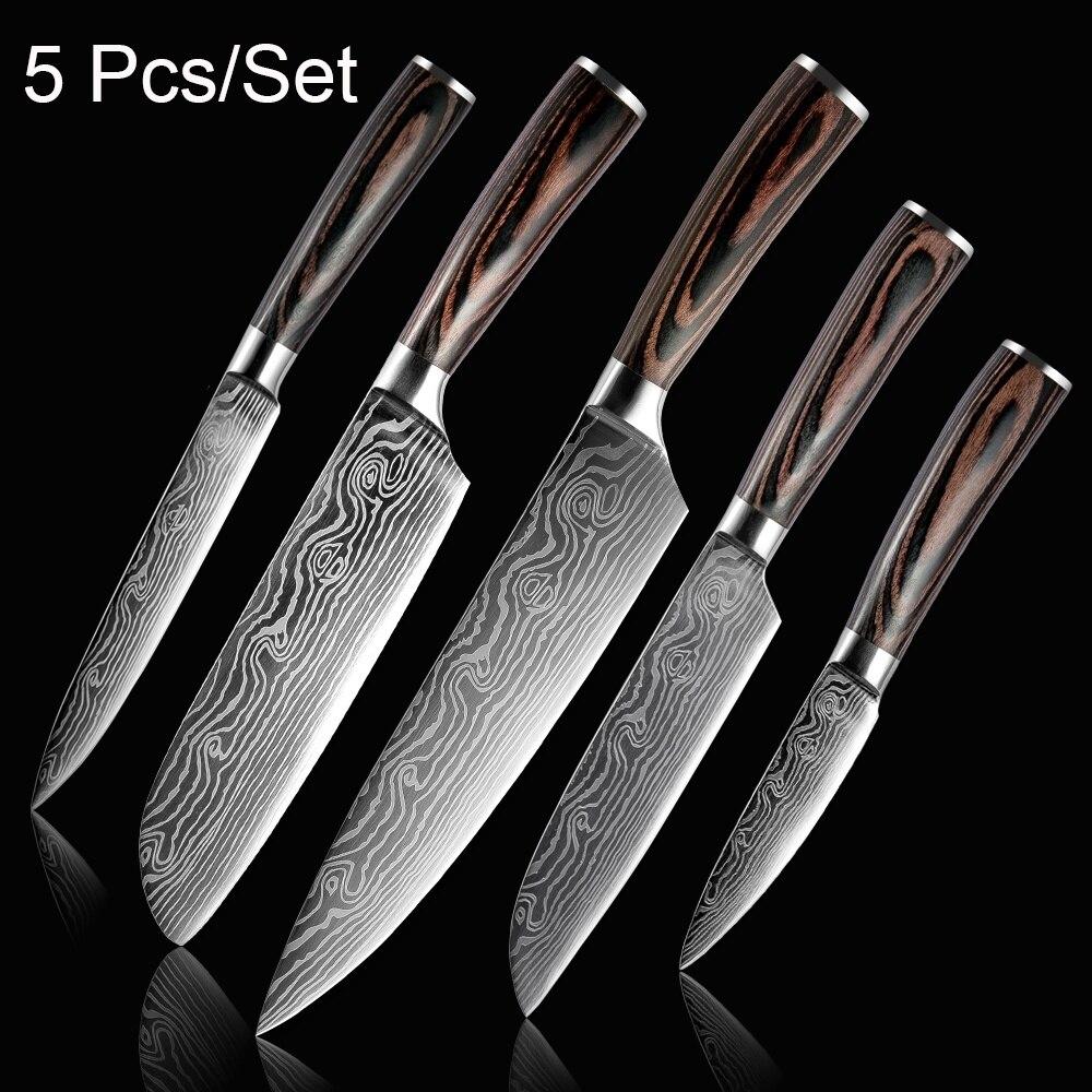 Zestaw noży kuchennych ostrza ze stali nierdzewnej Damascus wzór laserowy nóż szefa kuchni narzędzie Paring narzędzia Kuchenne kuchnia Noze kuchinne