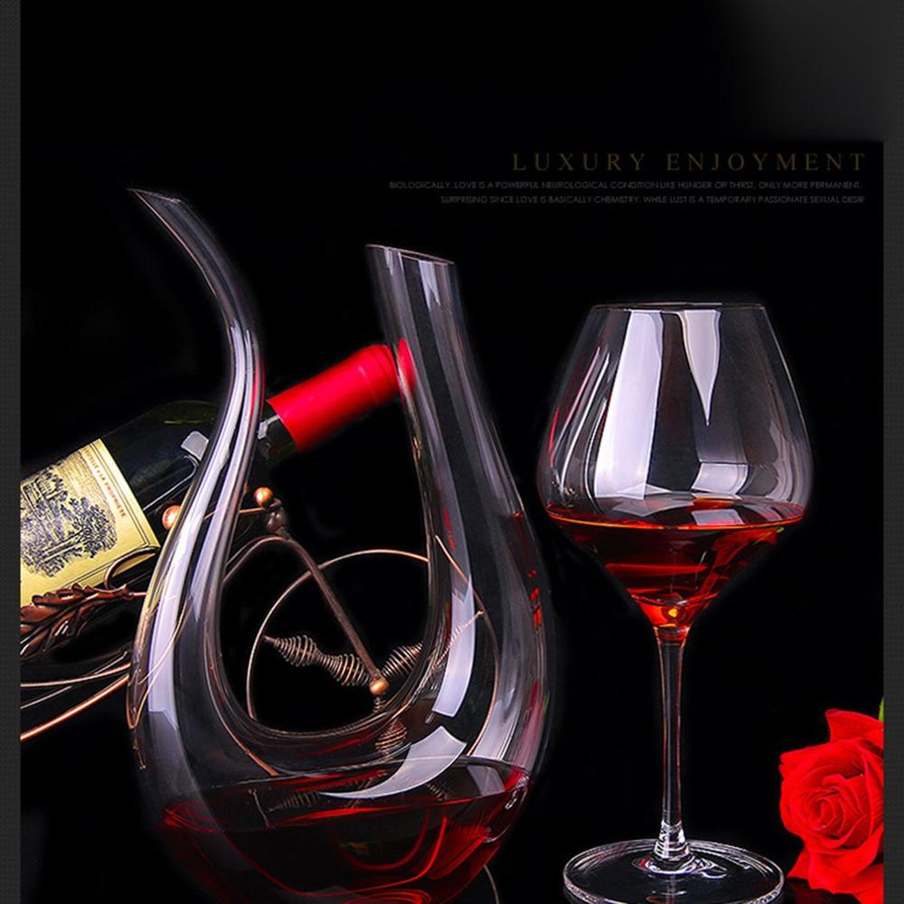 Crystal Clear Glass U-Shaped Horn Wine Decanter Red Wine Pourer Container