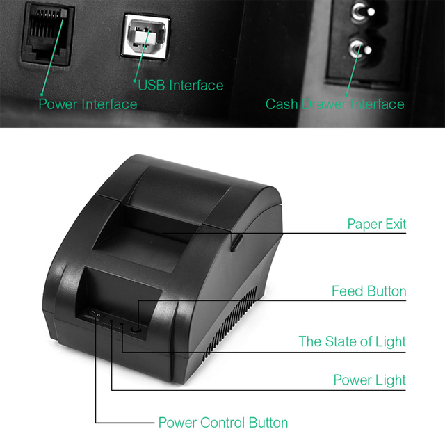 NETUM NT-1809DD 58mm Bluetooth Thermal Receipt Printer for Android IOS Windows AND 5890T RS232 Port Receipt Printer POS Portable 5