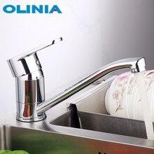 Поворотный кухонный смеситель Olinia, смеситель для раковины с креплением на раковину, смесители для экономии воды, с вращением на 360 °, с одной ручкой и одним отверстием, OL7164