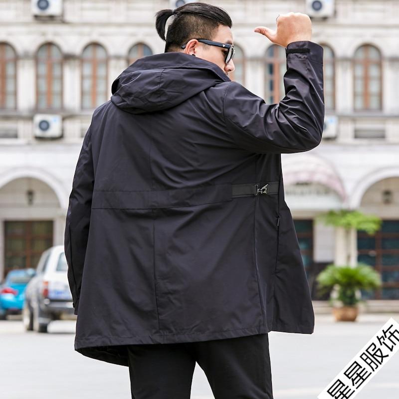 Большие размеры 8XL 6XL 5XL 4XL брендовые толстовки Тренч Мужская ветровка мужская одежда s длинное пальто черный Тренч куртка для мужчин - 5