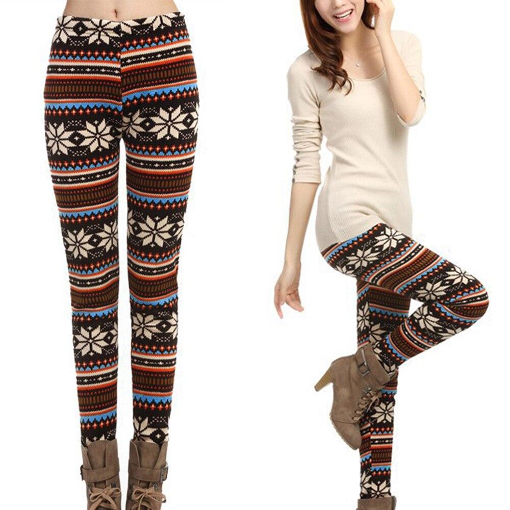Best Hot Winter Leggins Women Fleece Lined Ugly Christmas Leggings Tribal Snowflake Pattern Thicken Winter Legging Women Pants