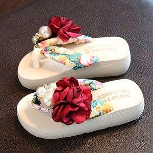 Летние детские шлепанцы для девочек, цветочные шлепанцы, модная богемная обувь для девочек, противоскользящие сверхлегкие детские тапочки ...