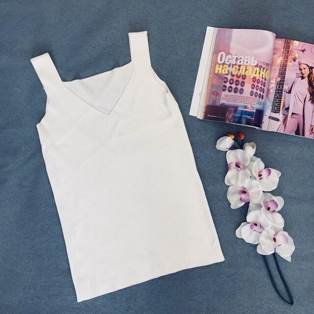GOPLUS Sexy V Neck Knitted Crop Top Women's Shirt Plus size Tank Top Underwear Top Women Casual Streetwear Clothing For Women 8