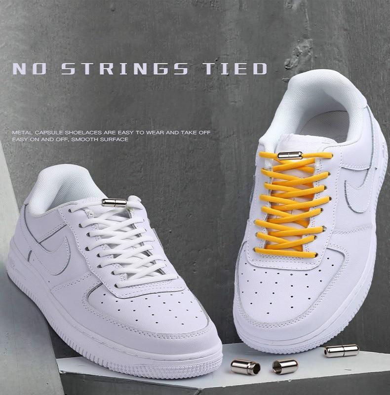 2 adet elastik olmayan dantel danteller yetişkin ve çocuklar için spor ayakkabı yarı dairesel dantel hızlı tembel metal kilit dantel