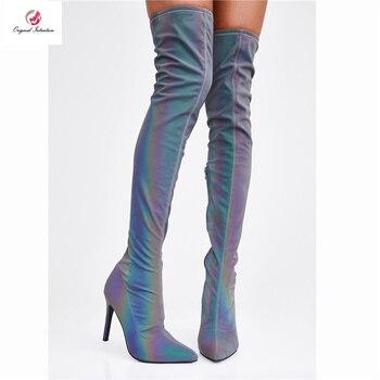 Intention originale Sexy léopard rose sur le genou bottes hautes femme mince talons hauts Super élastique rêve couleur chaussures femme