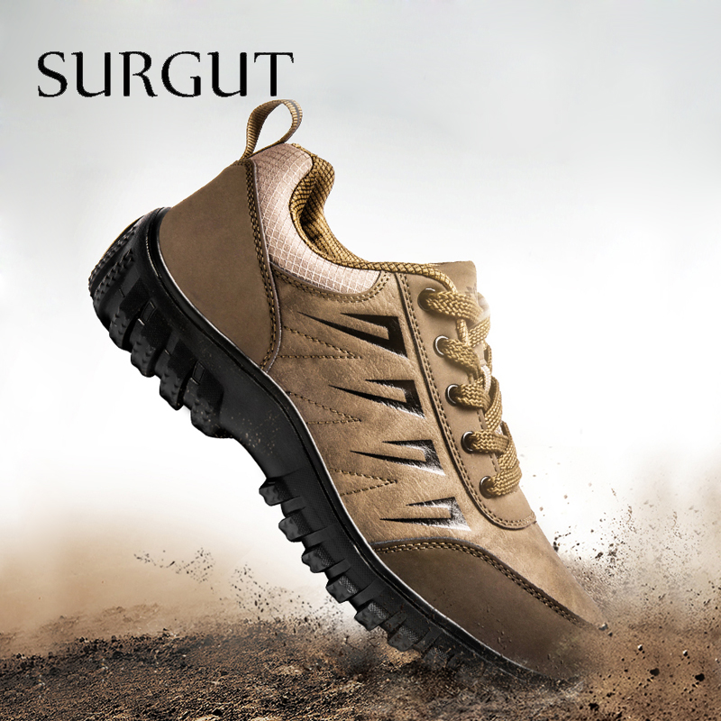 SURGUT Big Size 2020 Spring Genuine Leather Men's Shoes Lace-up Man Outdoor Casual Shoes Thick Bottom Stitch Non-slip Male Shoes
