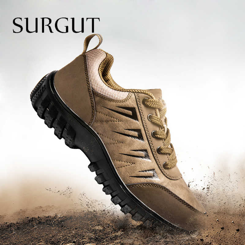 Surgut Size Lớn Mùa Xuân 2020 Da Nam Da Thật Chính Hãng Giày Buộc Dây Người Ngoài Trời Giày Đáy Dày Nữ Thời Trang chống Trơn Trượt Nam