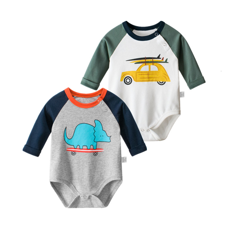 2019 Autumn New Baby Boy Dinosaur Car Jumpsuit Toddler Cotton Long Sleeve Romper Newborn Baby Clothing