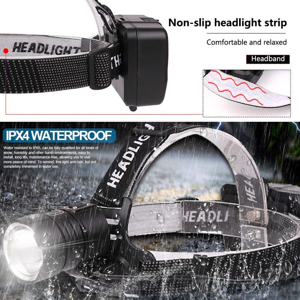 8000 Lumen XHP-70.2 led Scheinwerfer Angeln Camping scheinwerfer High Power laterne Kopf Lampe Zoomable USB Fackeln Taschenlampe 18650