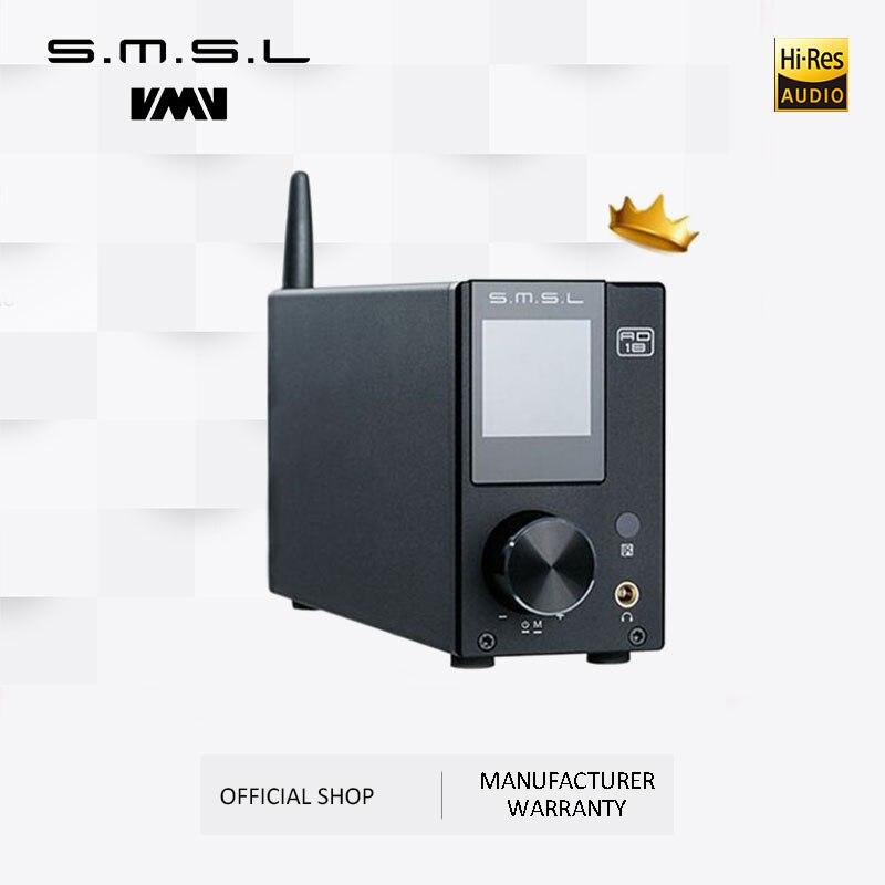 Amplificador estereofônico audio de smsl ad18 hi-fi com bluetooth 4.2 suporta apt-x, amplificador de potência digital completo de usb dsp 2.1 para o orador