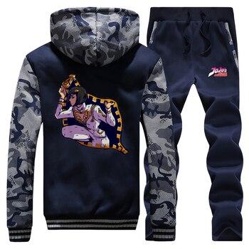 Funny Japanese Anime Jojo Camo Sweatshirt Hoodies Pants Sets Men Jojo Bizarre Adventure Sportswear Plus Size Hip Hop Streetwear