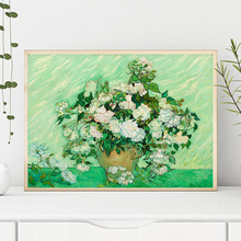 Famous Van Gogh Roses Oil Painting On Canvas Posters And Prints Wall Art Picture for Living Room Bedroom Home Decoration claude monet anemone oil painting on canvas posters and prints wall picture for living room home decoration