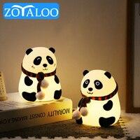 Lámpara Led de silicona con dibujos animados para niños, Panda, Sensor táctil recargable por USB, colorida, lámpara de noche para dormitorio