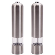 2pcs Stainless Steel Electric Automatic Pepper Mills Salt Grinder Silver Dome