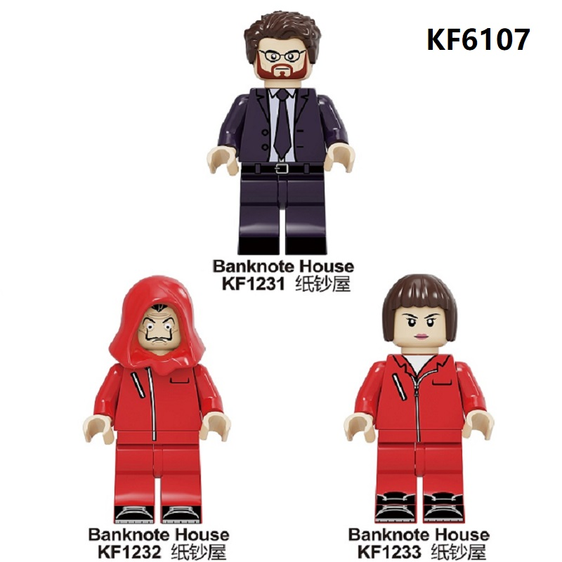 20Pcs Wholesales Building Blocks Suspense Movie Bricks Banknote House Money Heist John Wick Figure For Children Toys Gift KF6107 image