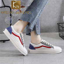 KATELVADI Lace Up Shoes Woman Big Size 43 White Sneakers Vulcanized Shoes Flats Woman Sneakers CH016 woman sneakers metallic color woman shoes front lace up woman casual shoes low top rivets embellished platform woman flats brand
