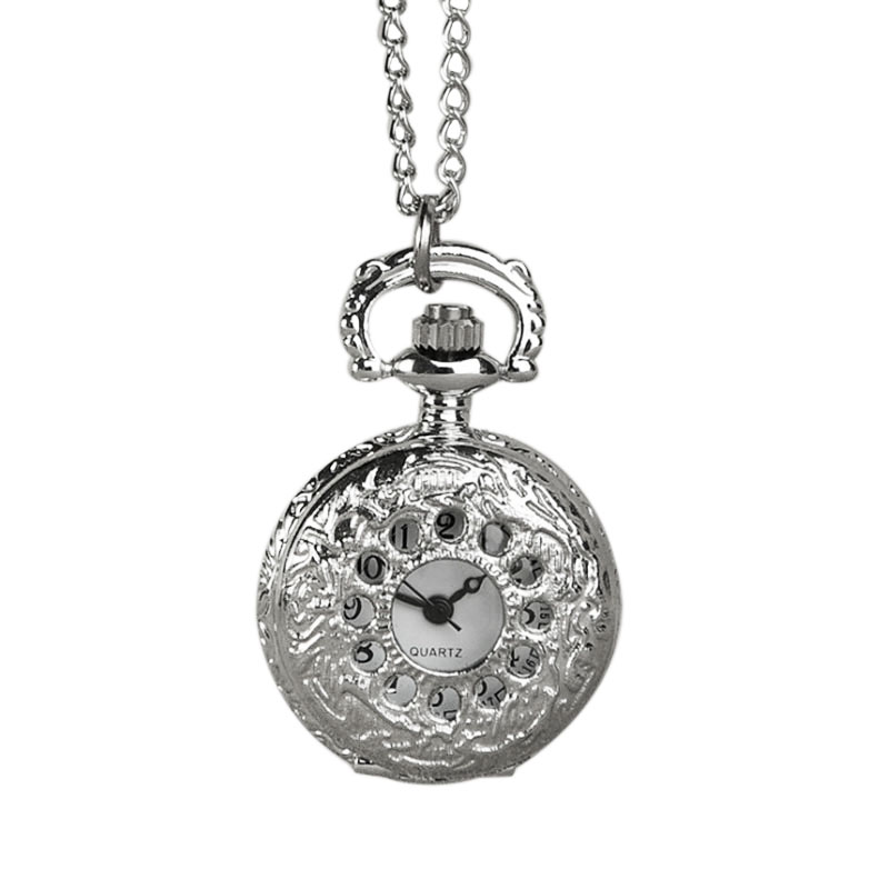 Palace-style Small Small Hollow Silver Small Circle Pocket Watch