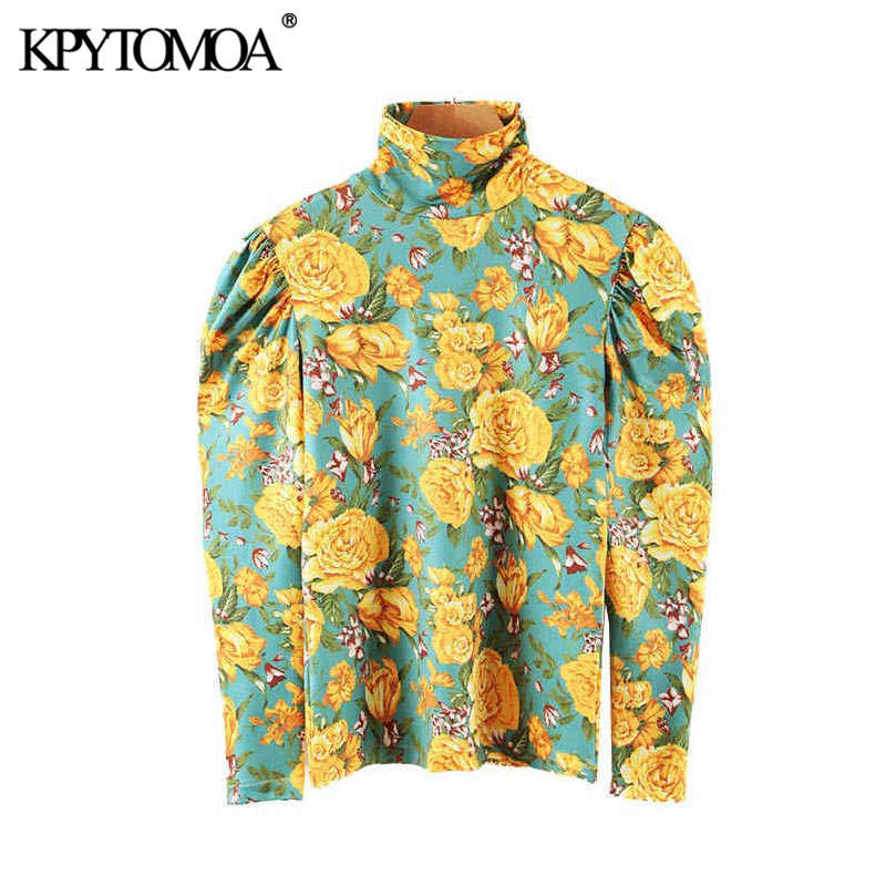 Vintage Stylish Floral Print Office Wear Blouses Women 2020 Fashion High Collar Puff Sleeve Stretch Slim Female Shirts Chic Tops