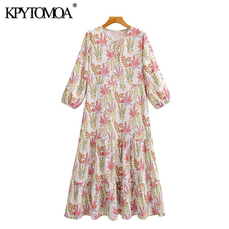 KPYTOMOA Women 2020 Chic Fashion Floral Print Ruffled Maxi Dress Vintage Tied O Neck Three Quarter Sleeve Female Dresses Mujer