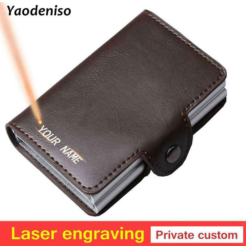 2019 New Double Layers Anti RFID Men leather Credit Card Holder Metal ID Card Case Aluminium Card Protection Male Travel Wallet