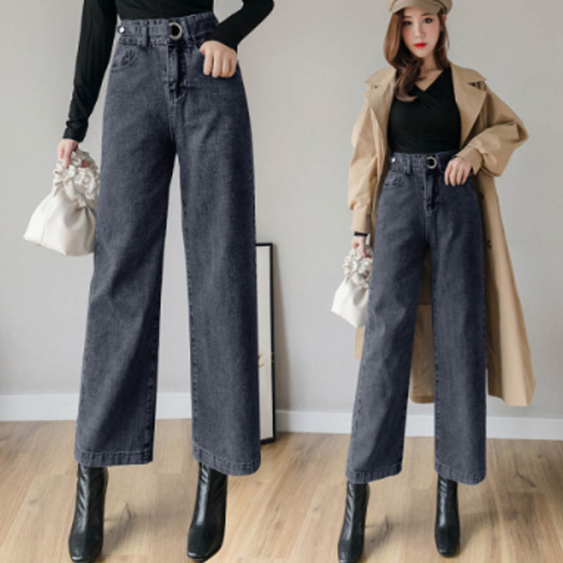 Women Jeans Plus Size Jeans OL Straight Wide Leg Woman Mom Jeans High Waist Denim Pants Flare Winter Pants Trousers Spring 2020