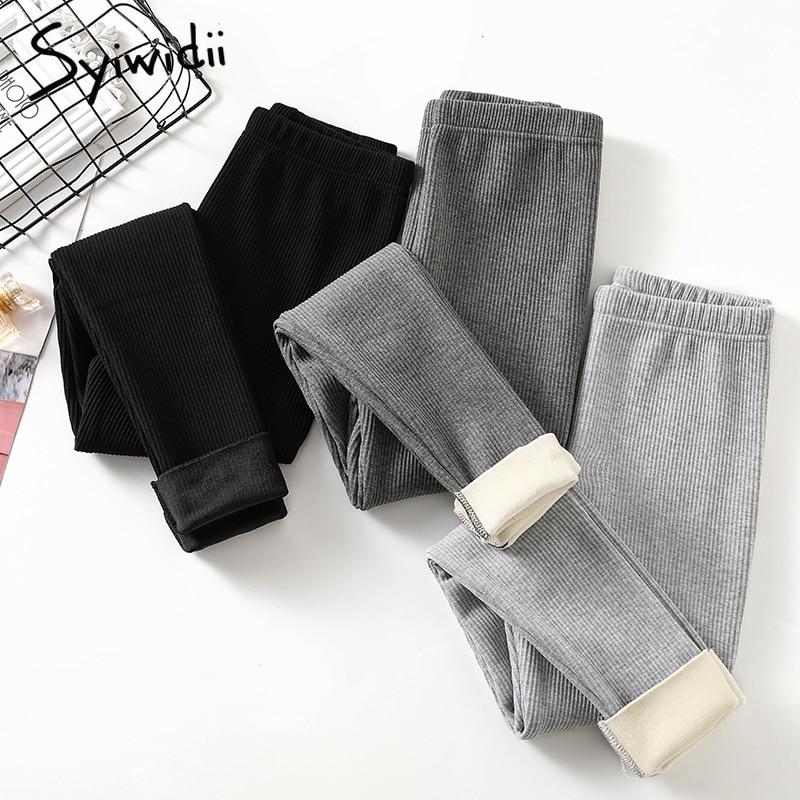 Syiwidii-mallas gruesas de terciopelo para mujer, pantalones pitillo de cintura alta acanalados, informales, lisos, cálidos, a la moda, 2020