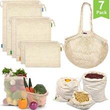 14 sacos reusáveis do produto do pacote sacos orgânicos da malha do algodão com bônus do cordão saco reusável da mercearia para o armazenamento de compras lavável