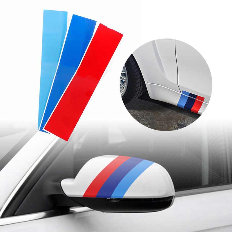 3 sztuk przednia nerka grill naklejka na BMW E46 E90 E60 E87 M3 M5 naklejka winylowa akcesoria samochodowe światła niebieski czerwony Sport pasek