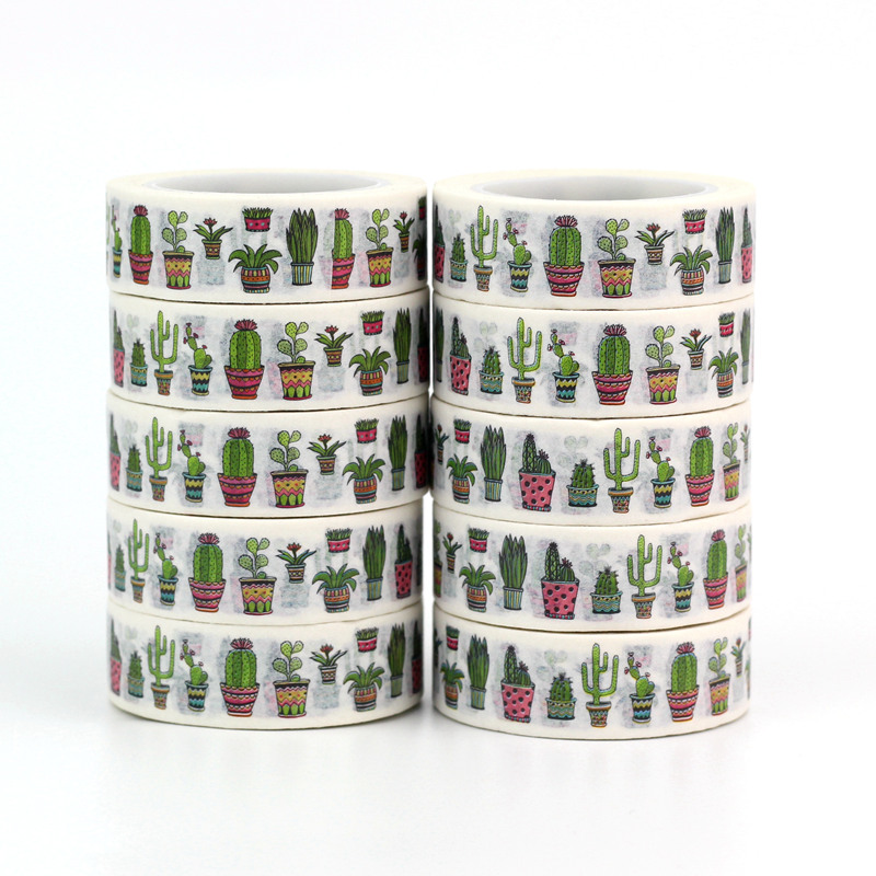 Wholesale High Quality 10pcs/lot Cactus Washi Tapes DIY Decor Scrapbooking Planner Adhesive Masking Tapes Cute Stationery