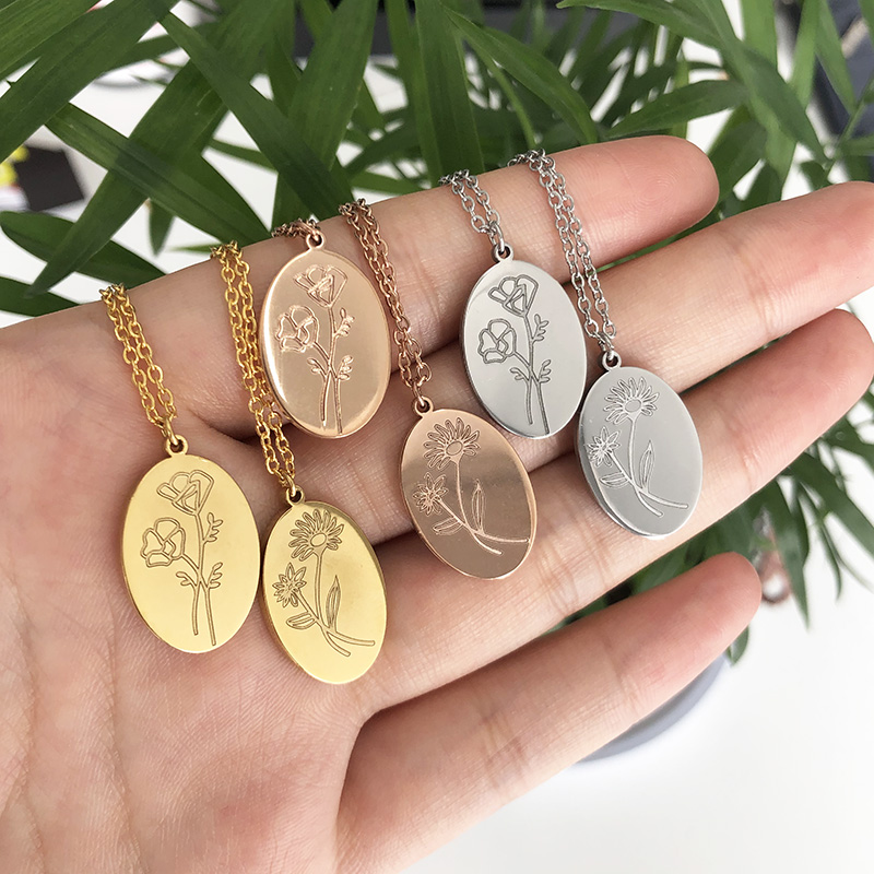 Ожерелье с цветком для мамы 2020 Новый месяц ожерелье для женщин подарок для мамы золотой цвет Овальный воротник с ожерельем с подвесками юве...
