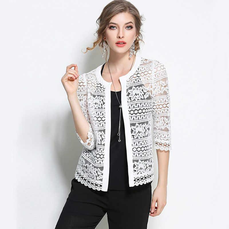 Женская одежда, Женская белая кружевная блузка 2020 размера плюс, летний модный кардиган, пальто, черная вязаная Сексуальная женская блузка, рубашка 883F30