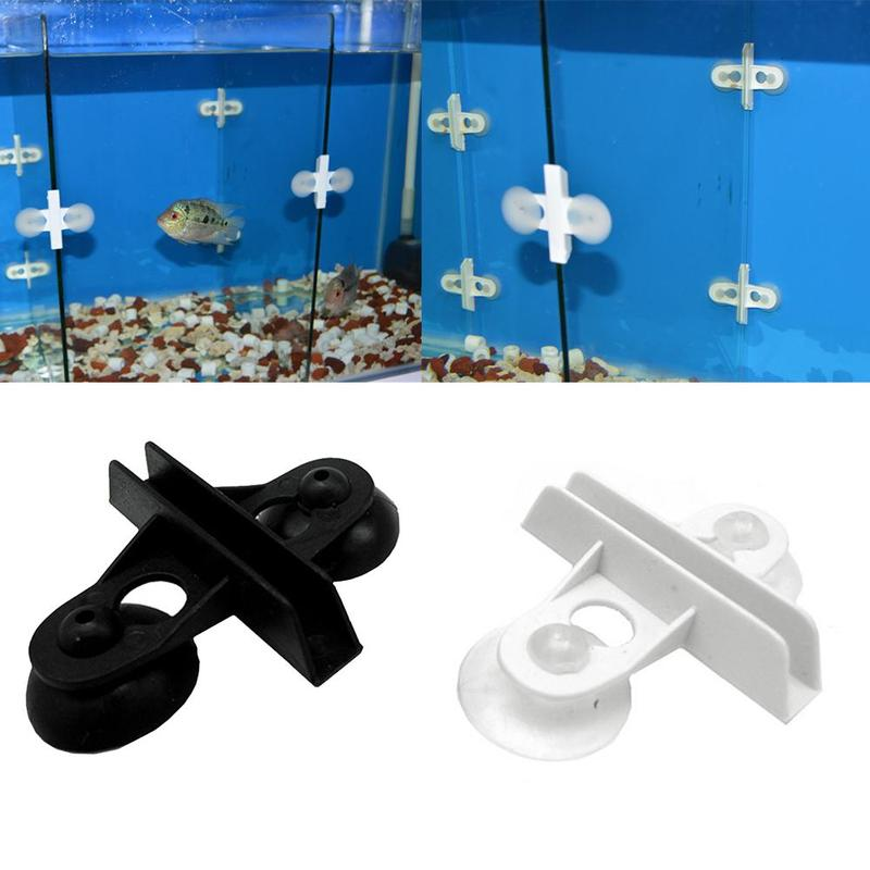 1pc White Aquarium Isolation Clamp Black Partition Glass Separation Suction Cup Clip Plastic Chuck Fish Tank Divider Accessories