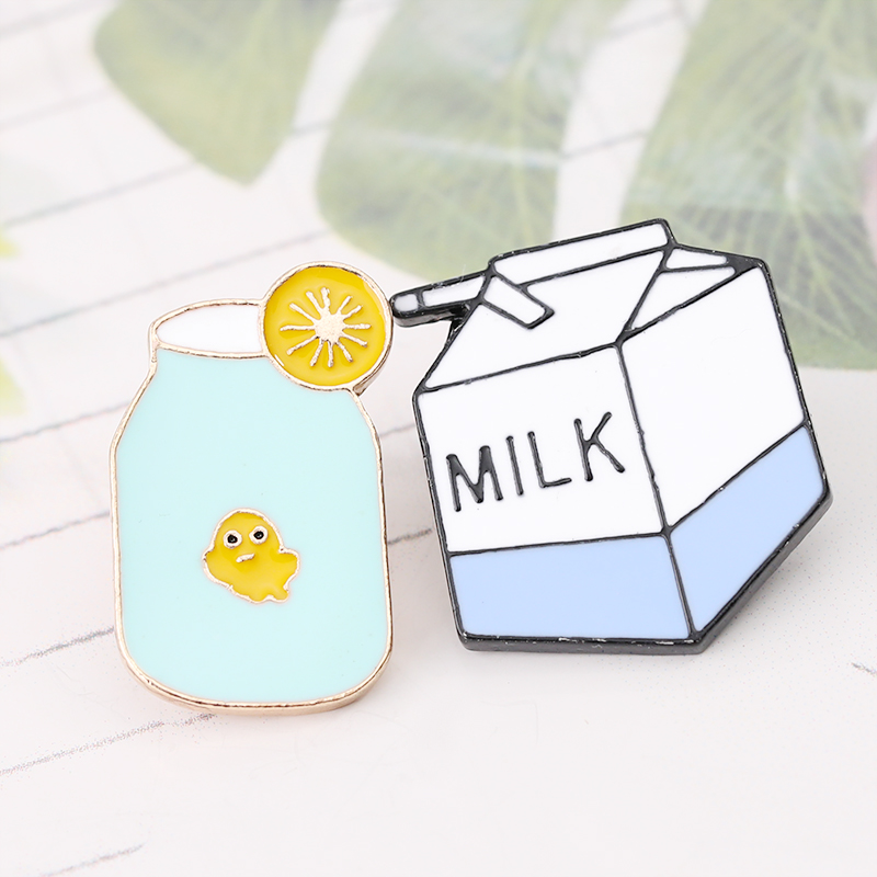 Drink Brooches Collection Enamel Pins Milk cartoon cup Brooch Pin Badge Gifts for Women Men Children