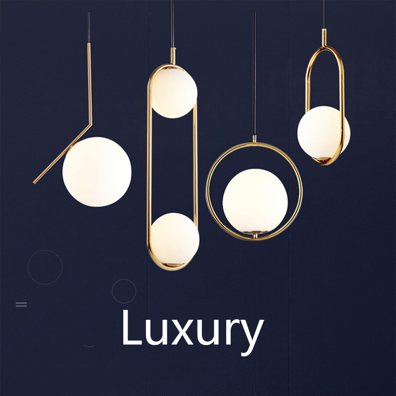 Nordic Glass Ball Pendant Lights Modern Industriel Lamp Hanging Lamp Lustre Luxury Glod Art Kitchen Hotel Hoop Deco Pendant Lamp