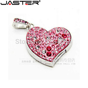 JASTER Diamond love heart USB Flash Drive Crystal fashion Lovers gift pendrive 64GB/16GB/32GB memory stick waterproof necklace