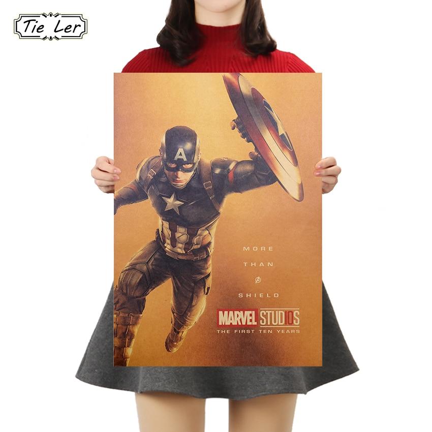 TIE LER Marvel Movie Vintage Kraft Paper Poster Wall Sticker Bar Cafe Home Decoration Painting 51.5X36cm