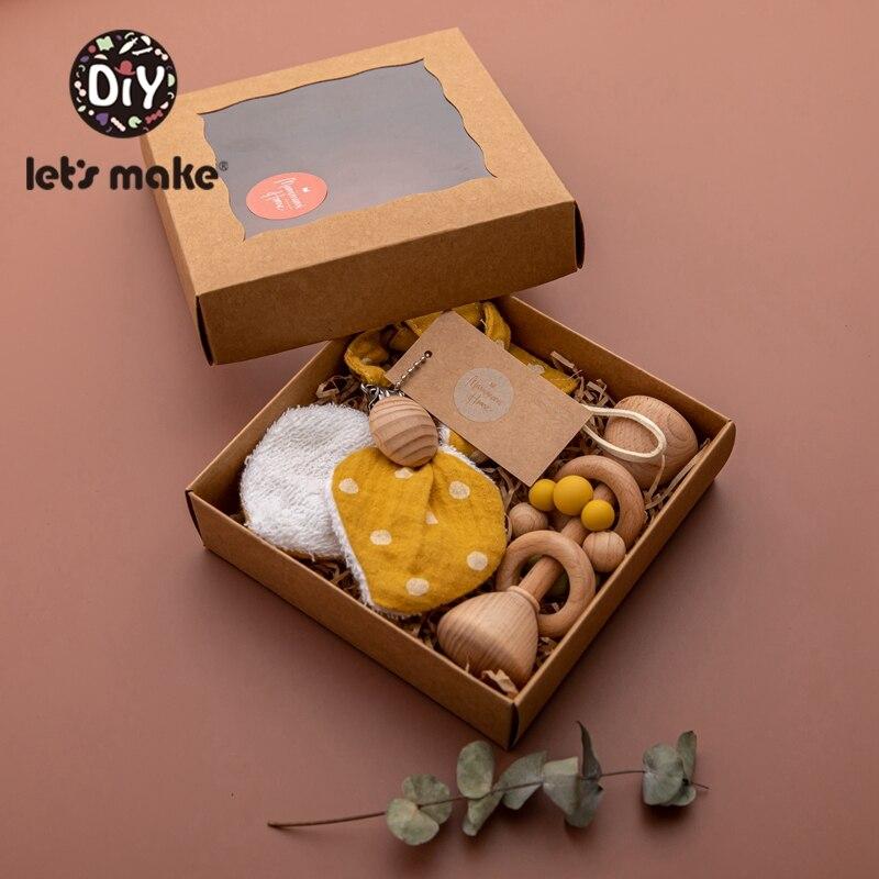 Lassen sie Machen 1 Set Baby Beißring Spielzeug Schnuller Clips Kette Buche Holz Rasseln Bunny Ohr Armband Baby Geschenk Für kinder Produkt