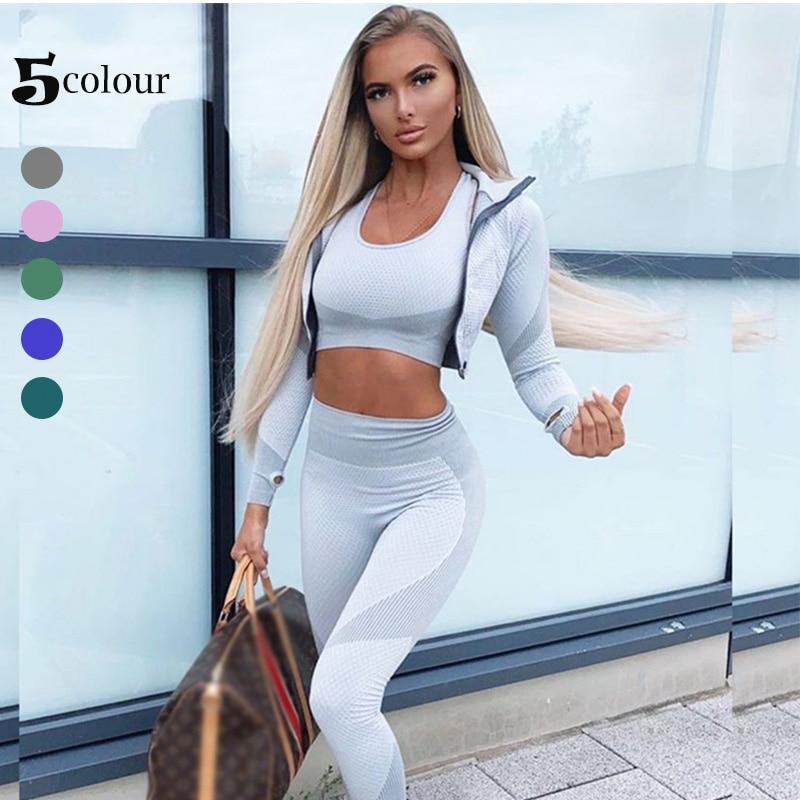 Women Long Sleeve Yoga Set Zipper Top Sport Suit Bra Workout Clothes Gym Fitness