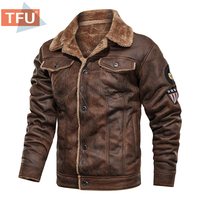 Männer 2021 Herbst Dicke Warme Fleece Leder Jacke Mantel Männer Winter Outwear Casual Military Bomber Motor Biker Leder Jacken Männer