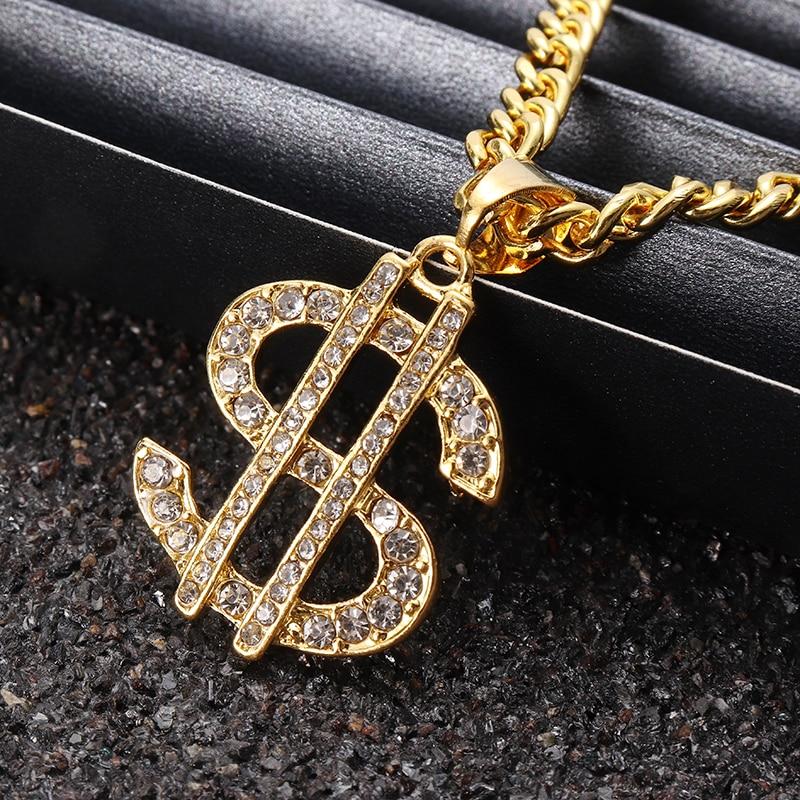 US Dollar Money Pendant Necklaces Luxury Gold Color Long Chain Necklace Men...