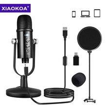 Micrófono de grabación de ordenador, condensador profesional USB con soporte de volumen ECHO, montaje de choque para Podcast Studio, YouTube