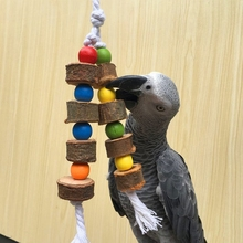 Natural Wooden Birds Parrot Colorful Toys Chew Bite Hanging Cage Balls Two Ropes H056