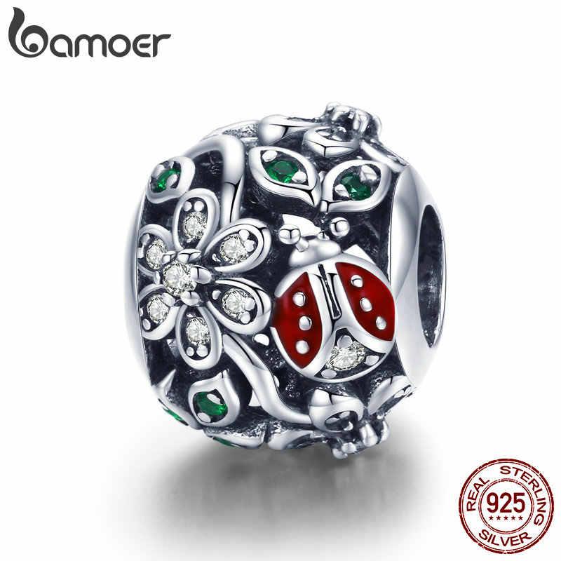 BAMOER 925 Sterling Silver Fashion Red Ladybug Flower Wonderland Cubic Zircon Charms fit Bracelets Bangles Jewelry Making SCC926