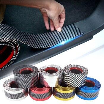 2.5M 자동차 스티커 5D 탄소 섬유 고무 스타일링 도어 씰 프로텍터 스티커 범용 자동차 전신 보호 비닐 액세서리