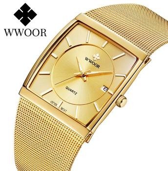 Japan Quartz Movement Watches Mens WWOOR Top Brand Luxury Ultra Thin Gold Steel Mesh Watch For Men Square Waterproof Wrist Watch dom men watches top brand luxury quartz watch casual quartz watch black leather mesh strap ultra thin fashion clock male relojes